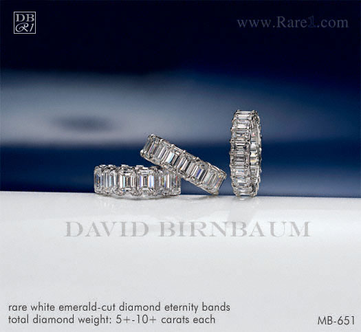Rare White Emerald-Cut Diamond Eternity Bands