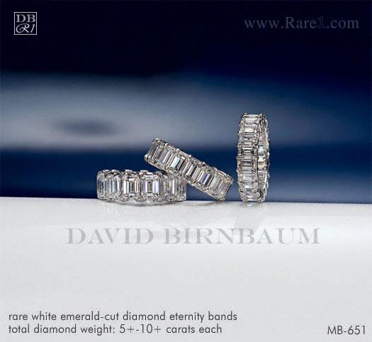 Rare White Emerald-Cut Diamond Eternity Bands