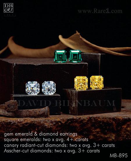 Gem Emerald & Diamond Stud Earrings