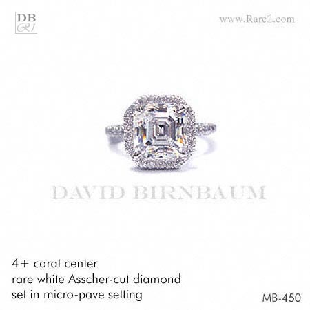Rare White Asscher-Cut Diamond Ring