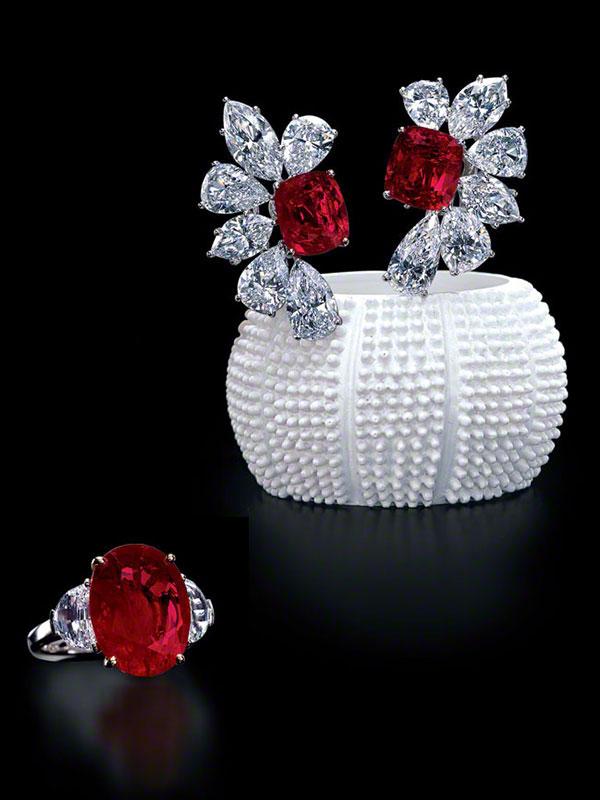 Burma Ruby Earrings & Ruby Ring