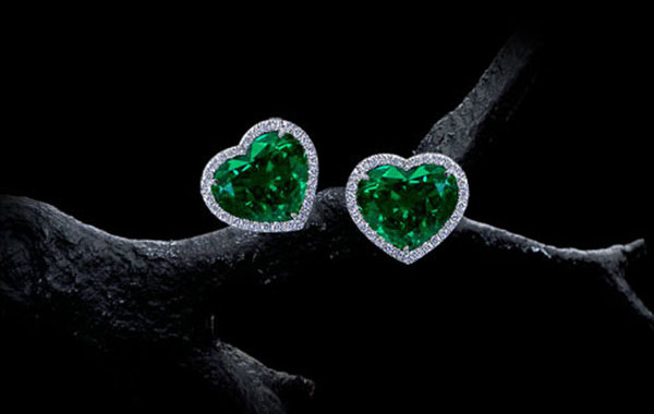 Heart Shaped Emerald Earrings