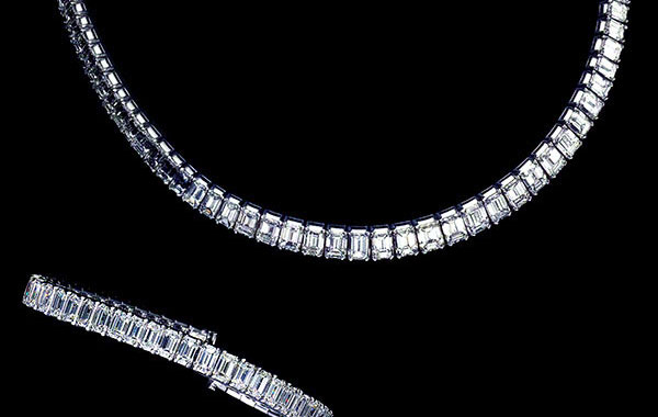 Rare White Emerald-Cut Diamond Necklace