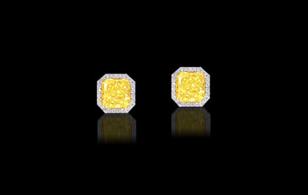 Fancy Intense Yellow Diamond Earrings