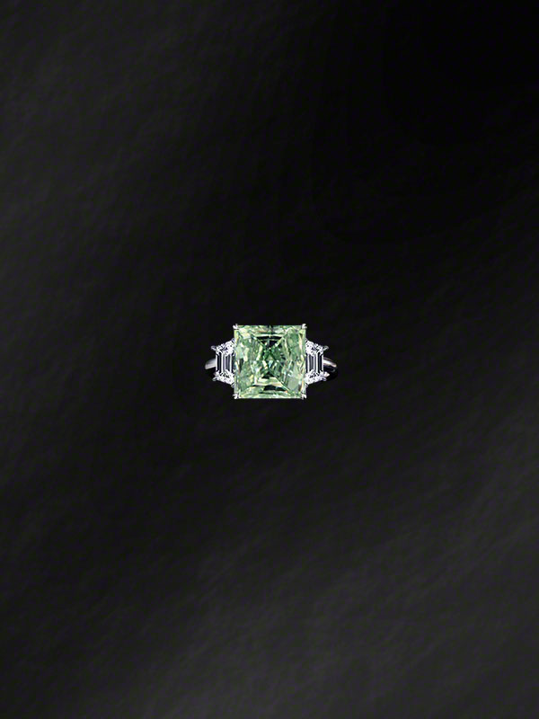 """Natural Fancy Intense Green"" Diamond Ring"