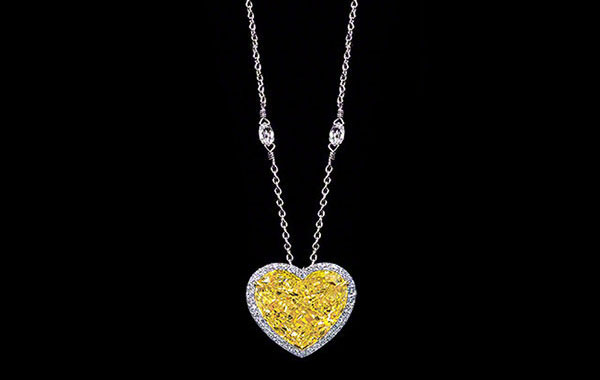 Intense Canary Heart Shaped Diamond Pendant-Necklace