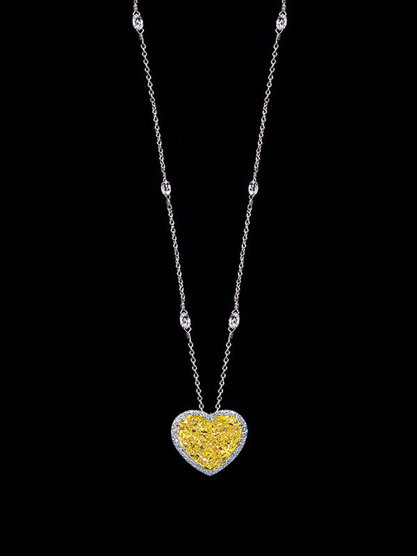 Intense canary heart shaped diamond pendant necklace aloadofball Gallery