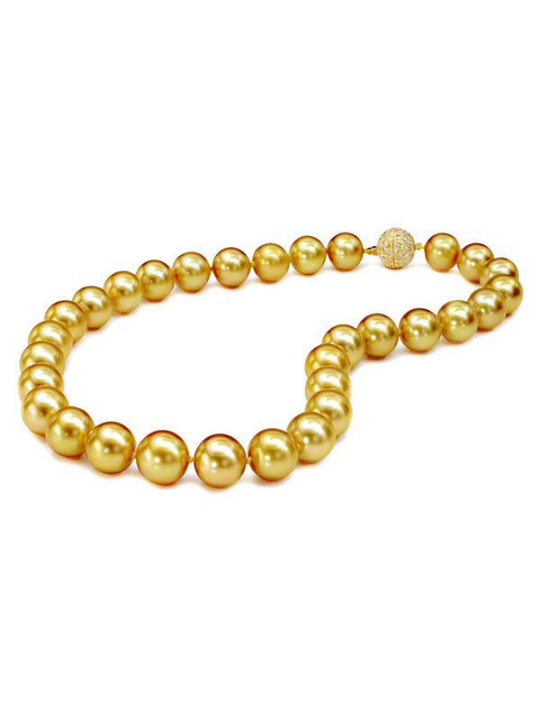 Gem Natural South Sea Golden Pearl Necklace