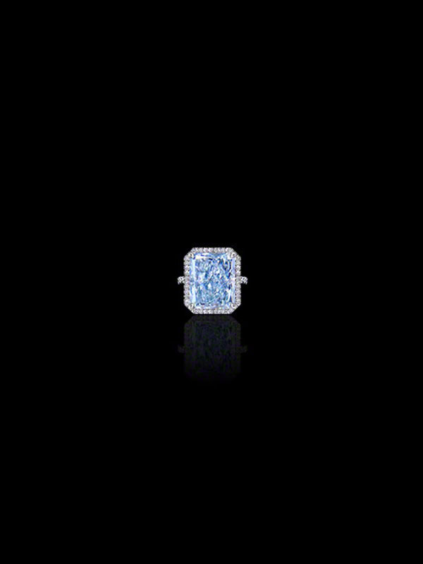 Fancy Blue Diamond Ring Radiant-Cut