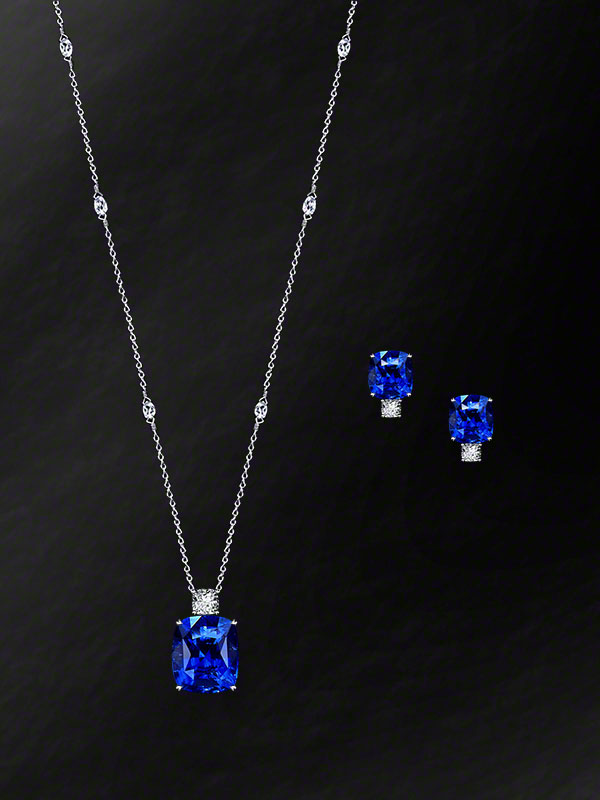 Natural Sapphire Cushion-Cut Pendant & Earrings