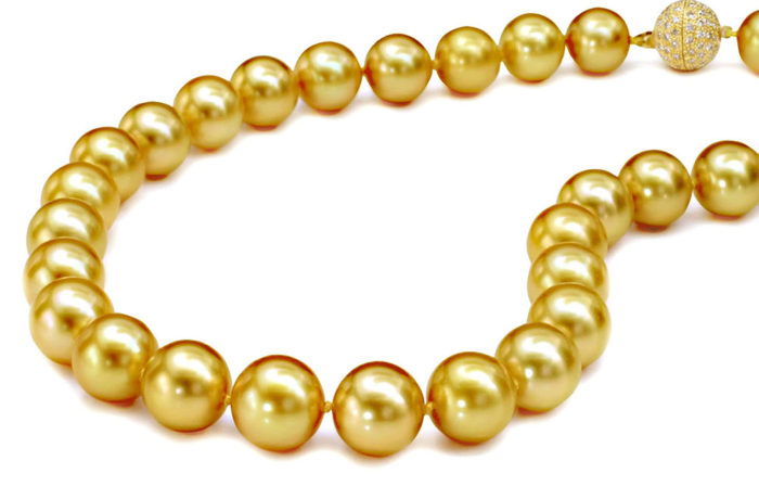 Gem Natural South Sea Golden Pearl Necklace - David ...