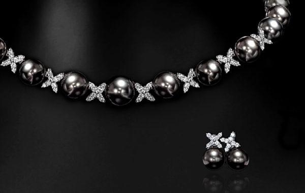 Designer Tahitian Black Pearl & Diamond Ensemble