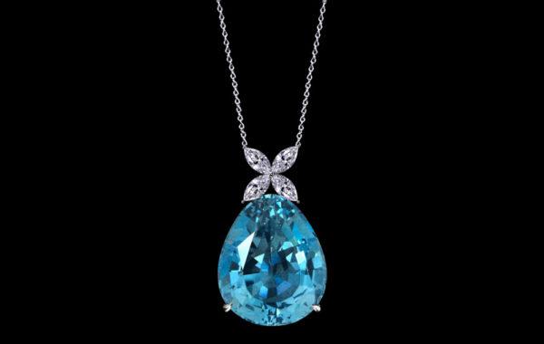 Gem Aquamarine Pendant-Necklace