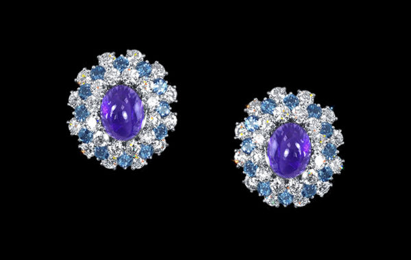Tanzanite, Aquamarine & Diamond Earrings