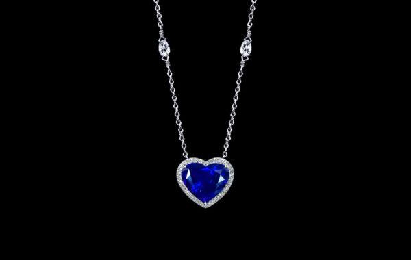 Heart Shape Blue Sapphire Pendant