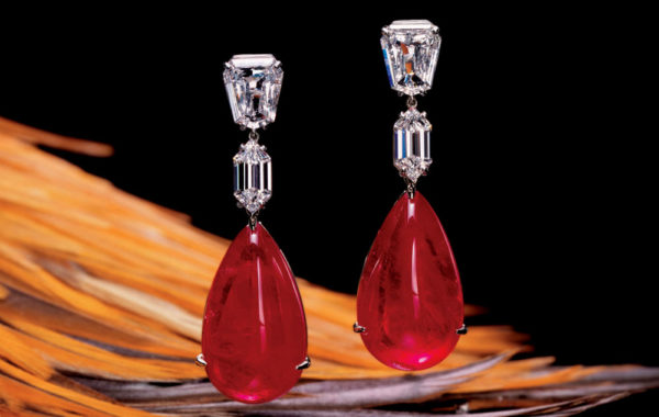 Cabochon Ruby & Diamond Earrings
